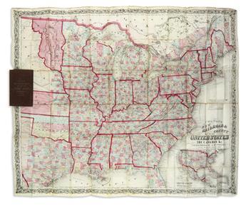 COLTON, JOSEPH HUTCHINS. Colton's New Rail Road & County Map of the United States, the Canadas &c.