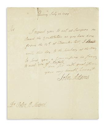 ADAMS, JOHN. Autograph Letter Signed, as President, to Peter St. Medard,