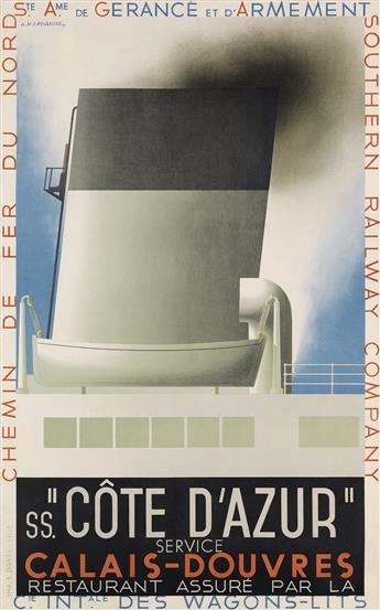 ADOLPHE MOURON CASSANDRE (1901-1968). SS. CÔTE DAZUR. 1931. 39x24 inches, 99x61 cm. L. Danel, Lille.