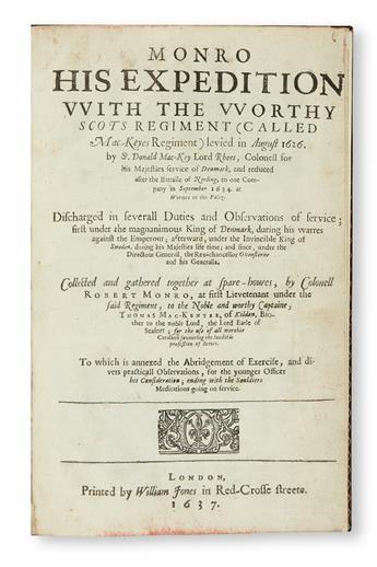 MONRO, ROBERT. Monro His Expedition.  1637