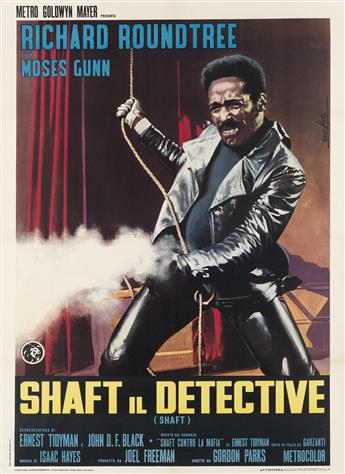 DESIGNER UNKNOWN. SHAFT IL DETECTIVE. 1971. 55x39 inches, 140x99 cm. Rotolitografica, Rome.