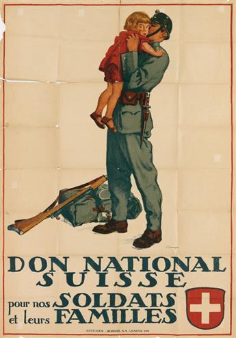 JULES COURVOISIER (1884-1936). DON NATIONAL SUISSE POUR NOS SOLDATS ET LEURS FAMILLES. 1918. 50x35 inches, 129x90 cm. Sonor, Geneva.