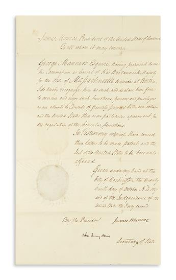 MONROE, JAMES. Document Signed, as President, recognizing George Manners as British Consul (Consul of His Britannick Majesty) for the