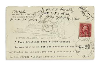 (ANTARCTICA.) Konter, Richard W. Group of letters from Byrds First Antarctic Expedition.