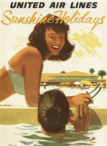 STAN GALLI (1912-2009). UNITED AIR LINES / SUNSHINE HOLIDAYS. Circa 1960s. 34x25 inches, 87x63 cm.