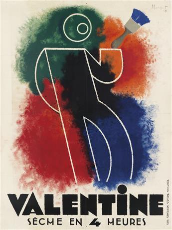 CHARLES LOUPOT (1892-1962). VALENTINE. 1929. 62x46 inches, 157x118 cm. Édition Belles Affiches, [Paris.]