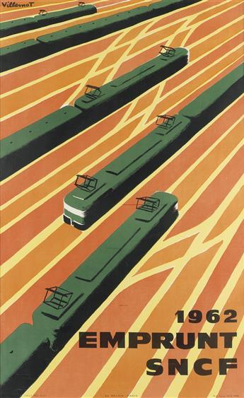 BERNARD VILLEMOT (1911-1989). EMPRUNT SNCF. 1962. 39x24 inches, 99x61 cm. Le Belier, Paris.