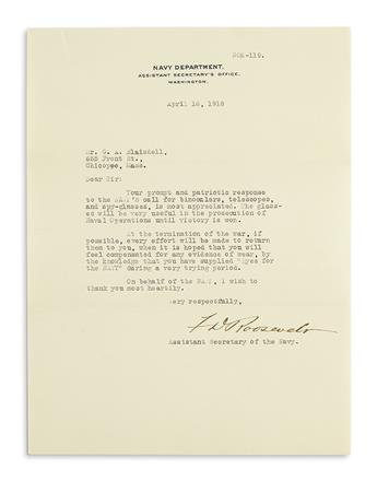 ROOSEVELT, FRANKLIN D. Letter Signed, FDRoosevelt, as Assistant Secretary of the Navy, to George A. Blaisdell,