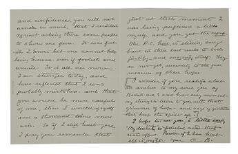 BARTON, CLARA. Autograph Letter Signed, C.B., to Dear Roscoe and Harriette,