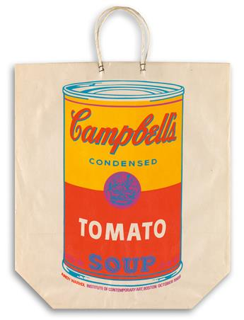 ANDY WARHOL Campbells Soup Can on a Shopping Bag.