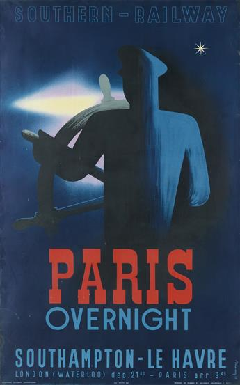 LAJOS MARTON (1891-1952). SOUTHERN - RAILWAY / PARIS OVERNIGHT. 1938. 39x24 inches, 99x61 cm. Alliance Graphique, Paris.