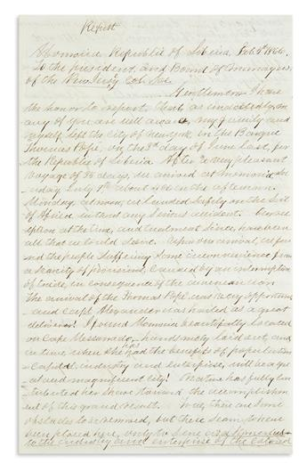 (AFRICAN AMERICANS.) Johnson, Henry W. Letter written as a prominent emigrant to Liberia.