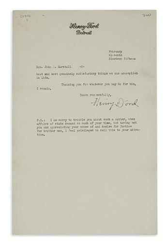 (BUSINESS.) FORD, HENRY. Typed Letter Signed, to U.S. Vice President Thomas R. Marshall (John [sic] R. Marshall),