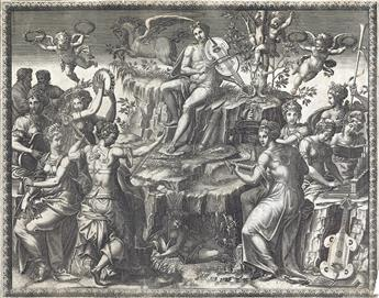 GIORGIO GHISI (after Luca Penni) Apollo and the Muses