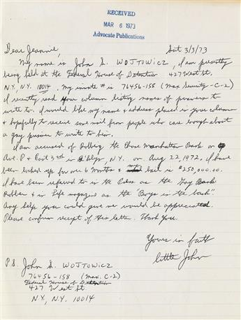 JOHN WOJTOWICZ (1945-2006)  File of correspondence by the Gay Bank Robber of Dog Day Afternoon fame.