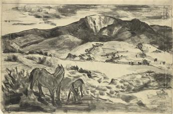 RUSSELL COWLES Western Landscape with Horses.