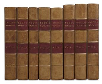 COOK, JAMES. Complete set of the Southern Hemisphere, South Pole, and Pacific Ocean voyages.  9 vols.  1773-77-84