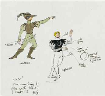 THEATER BALLET COSTUME EDWARD GOREY. 'Swan Lake. Hunters/Siegfried' * 'Van Rothbart [Owl].'