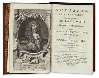 BUTLER, SAMUEL. Hudibras, In Three Parts . . . Corrected and Amended by Zachary Grey.