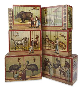(TOYS.) [McLoughlin Bros.?] Set of 8 zoo-animal themed ABC picture blocks.