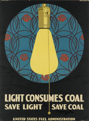 CLARENCE COLES PHILLIPS (1880-1927). LIGHT CONSUMES COAL. Circa 1918. 27x20 inches, 70x51 cm. Edwards Deutsch & Litho Co. Chicago.