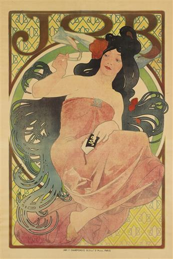 ALPHONSE MUCHA (1860-1939). JOB. 1898. 60x40 inches, 152x103 cm. F. Champenois, Paris.