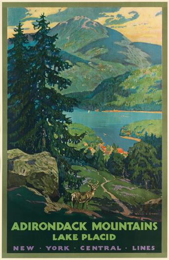 WALTER L. GREENE (1870-1956). ADIRONDACK MOUNTAINS / LAKE PLACID. Circa 1935. 40x26 inches, 102x66 cm. Latham Litho & Ptg. Co., Long Is