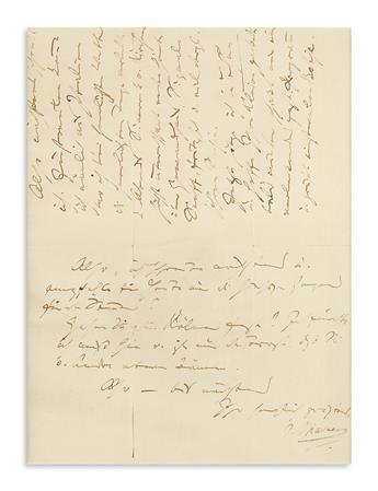 BRAHMS, JOHANNES. Autograph Letter Signed, J. Brahms, to botanist Theodor Wilhelm Engelmann, in German,