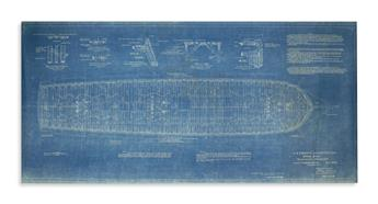 (NAVY.) Original blueprint from the 1926 restoration of the USS Constitution.