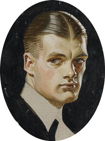 (ADVERTISING.) JOSEPH CHRISTIAN LEYENDECKER. Portrait of Charles Beach as the Arrow Collar Man.