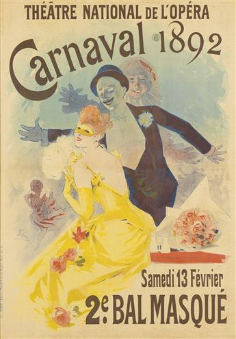 JULES CHÉRET (1836-1932). CARNAVAL / 2E BAL MASQUE. 1892. 48x34 inches, 123x86 cm. Chaix, Paris.