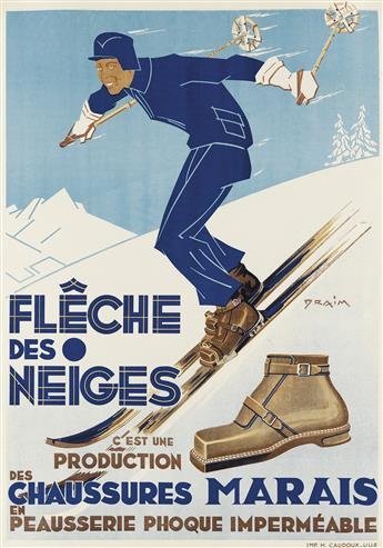 DRAIM (DATES UNKNOWN). FLÊCHE DES NEIGES / CHAUSSURES MARAIS. 1930. 28x20 inches, 73x51 cm. H. Cadoux, Lille.
