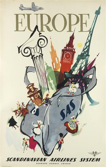 VARIOUS ARTISTS. [AIRLINES / EUROPE.] Group of 4 posters. Sizes vary.