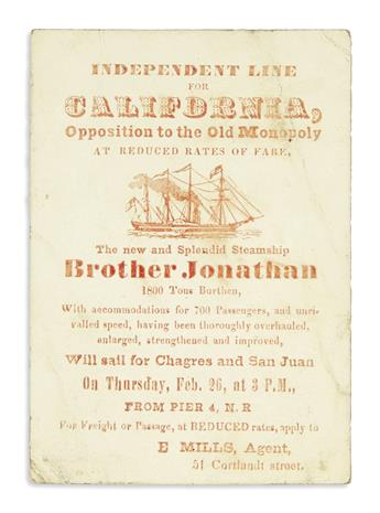 (CALIFORNIA.) Mills, Edward. Clipper ship card for the steamship Brother Jonathan.