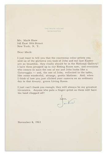 KENNEDY, JACQUELINE. Autograph Letter Signed, Jackie, as First Lady, to photographer Mark Shaw (Dear Mark),