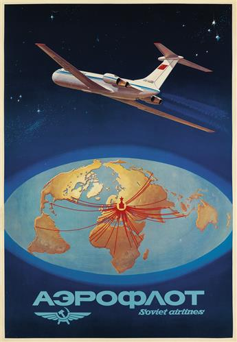 VARIOUS ARTISTS. [AIRLINES / EUROPE & ASIA.] Group of 3 posters. Sizes vary.
