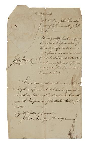 HANCOCK, JOHN. Document Signed, as Governor, certifying that Samuel Cooper is a Justice of the Peace in Suffolk County.