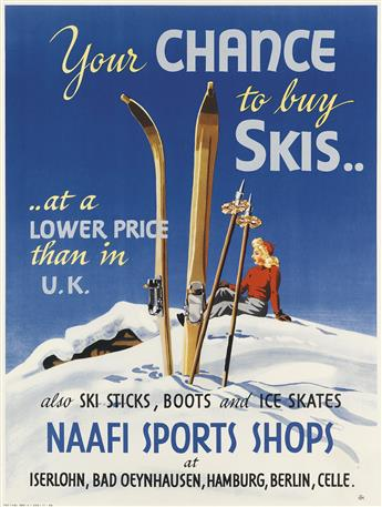 HMT (MONOGRAM UNKNOWN). YOUR CHANCE TO BUY SKIS / NAAFI SPORTS SHOPS. 1948. 24x18 inches, 62x47 cm.
