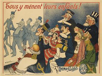 ADRIEN BARRÈRE (1877-1931). CINÉMA PATHÉ / TOUS Y MÈNENT LEURS ENFANTS! Circa 1909. 46x62 inches, 118x157 cm. Robert & Cie., Paris.