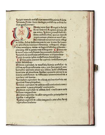 INCUNABULA  NIDER, JOHANNES. Manuale confessorum.  Not after 1474