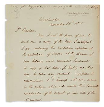 JACKSON, ANDREW. Fragment of an Autograph Letter, unsigned, to Dolley Madison (Dr Madam),