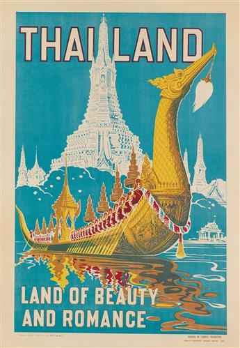 DESIGNER UNKNOWN. THAILAND / LAND OF BEAUTY AND ROMANCE. Circa 1950s. 31x21 inches, 78x55 cm. Kana Chang Co., Ltd., Bangkok.