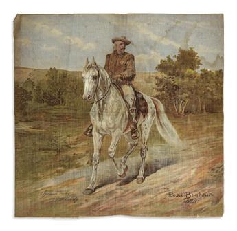 (WEST.) Bonheur, Rosa; artist. Printed textile of Buffalo Bill Cody.