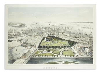 [BACHMANN, JOHN, after.] Birds Eye View of Boston.