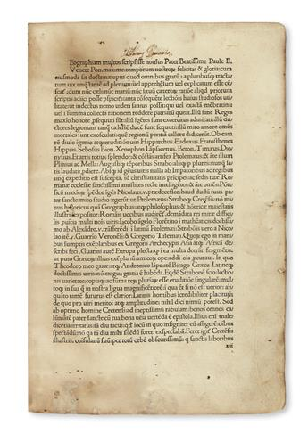 INCUNABULA  STRABO. Geographia, libri XVI.  1480