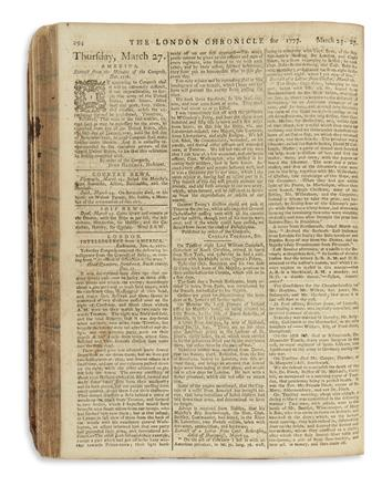 (AMERICAN REVOLUTION--1777.) Bound volume of the London Chronicle.