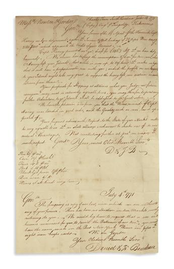 (AMERICAN REVOLUTION--PRELUDE.) Corrie, John. Letter describing the implementation of the Stamp Act in South Carolina.