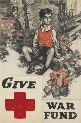 ADVERTISING POSTER AMOS SEWELL. 'Red Cross / Give War Fund.'
