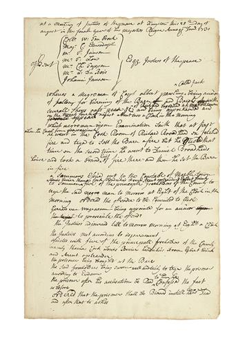 (SLAVERY AND ABOLITION.) Trial account of an enslaved New York man for arson, with the order to burn him at the stake.