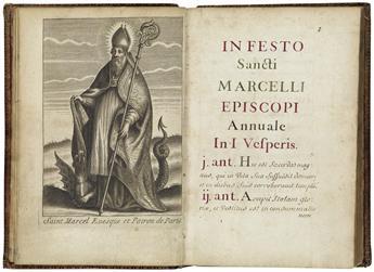 MANUSCRIPT.  In festo Sancti Marcelli Episcopi.  Manuscript in Latin on paper.  18th century